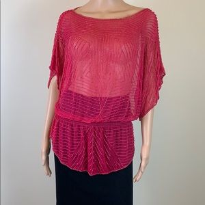 Parker pink sheer beaded blouse Sz. XS
